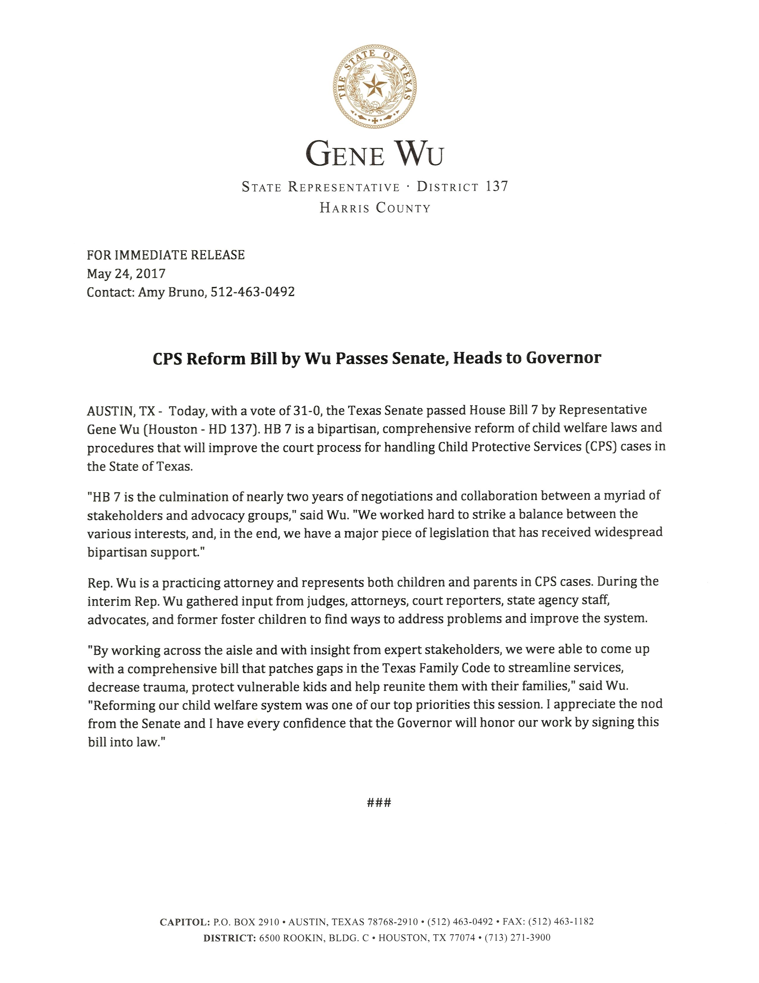 Press Release: CPS Reform Bill by Wu Passes Senate, Heads to